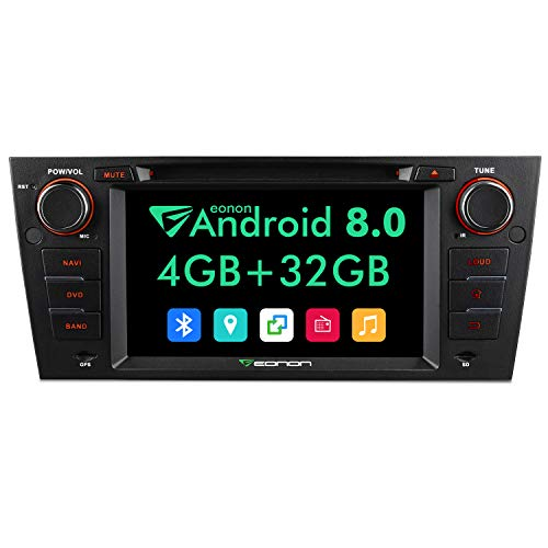 Bluetooth Car Stereo Radio Audio 7 Inch Eonon Android 8.0,4GB RAM 32GB ROM Octa-Core Applicable to BMW 3 Series 2005,2006,2007,2008,2009,2010 and 2011(E90/E91/E92/E93) Support WiFi,Fastboot-GA9165A