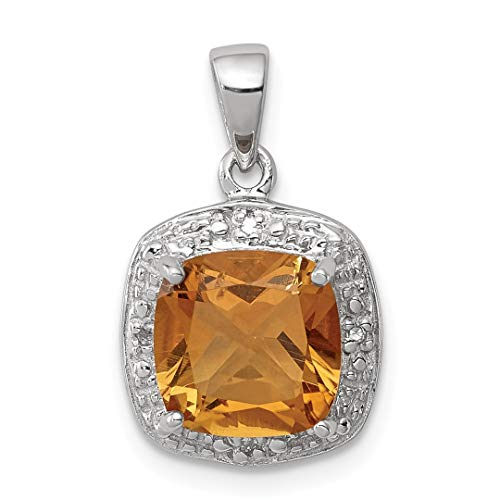 - 925 Sterling Silver Yellow Citrine Diamond Pendant Charm Necklace Gemstone Fine Jewelry For Women Gift Set