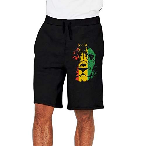 Kinggo Man Personalized Rasta Background Classic with Pockets Short Sports Shorts Pant Black L