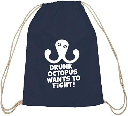 Naturel Drunk Dunkelblau À Sport Et Shirtstreet24 Sac Natur Coton De Octopus Dos qpcCwES