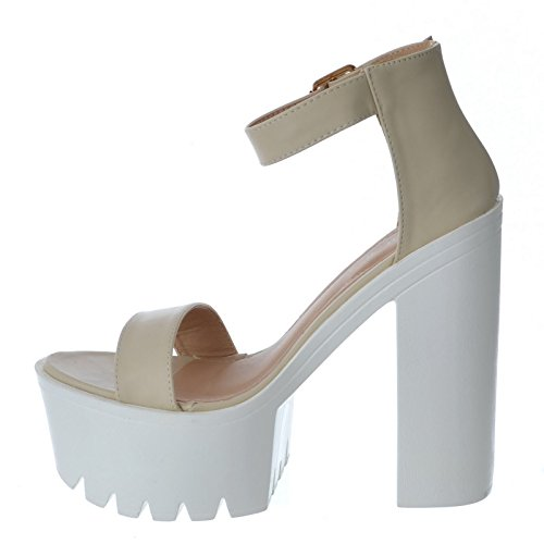 WOMENS LADIES CHUNKY HIGH BLOCK HEEL BUCKLE CUFF ANKLE STRAP SANDALS SHOE SIZE Nude Faux Leather iWKNioy