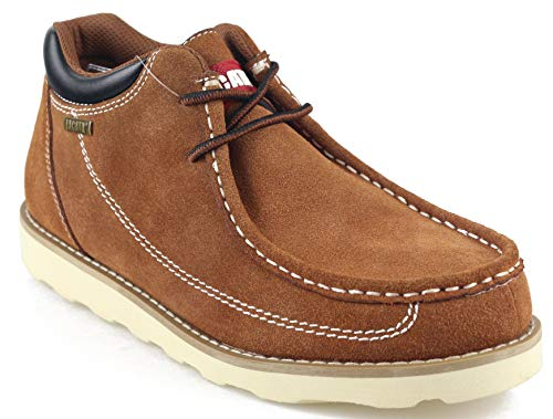 Jacata Men's Low-Cut Work or Mid-Cut Casual or Heavy Duty Leather Boots with Steel Toe Option/Driving Loafer/Walking Mesh Sneaker/Vegan Moccasin Water Resistant Shoes (11, Redwood-Loafer)