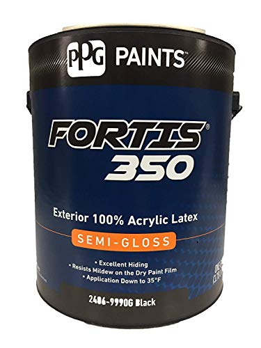 PPG Fortis 350 Exterior 100% 1-Gallon Acrylic Latex Semi-Gloss Black Paint 2406-9990G