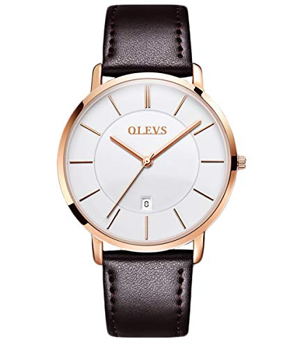 OLEVS Men's Ultra Thin Alloy Watches Quartz Analog Calendar Date Window Business Casual Slim Wristwatch Waterproof 30M 3ATM White Gold Dial Brown Genuine Cowhide Leather Band Simple Classic Gift YPF
