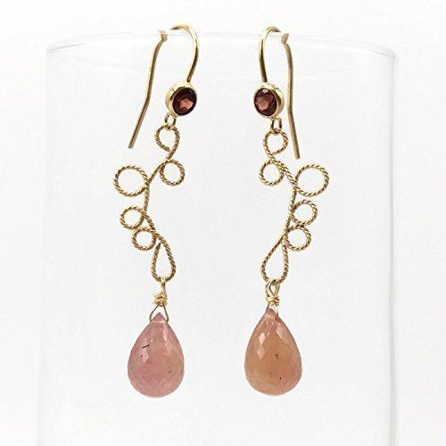 Long Gold Pink Sapphire Dangle Drop Gemstone Earrings | Handmade Garnet Jewelry | Mothers Day Gifts Handcrafted Garnet Love Earrings