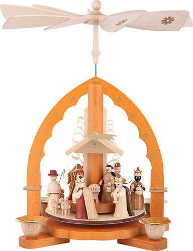 Christmas Pyramid.Amazon Com 1 Tier Pyramid Nativity Scene Natural Wood 11