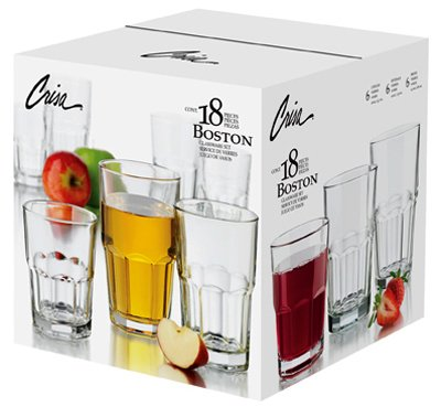Libbey Glass 1783099 Boston Beverage Glassware Set, 18-Pc. -