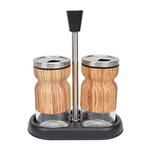 t Set Stainless Steel Glass Salt & Pepper Seasoning Shaker with Tray Twist Rotating Cover ()