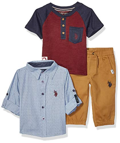U.S. Polo Assn. Baby Boys Long Sleeve Woven, Henley T-Shirt, and Jogger Set, Blue Maroon Multi Plaid, - Embroidered Sleeved T-shirt Long