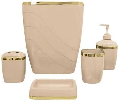 Plastic Bathroom Bath Accessory Set 5-Piece Toilet Wastebasket Toothbrush Holder