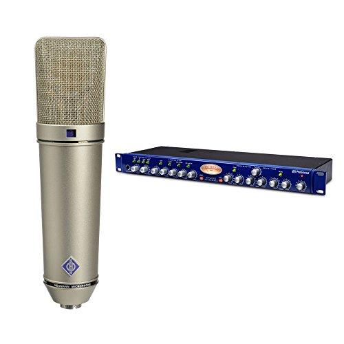 Neumann U 87 Ai Switchable Studio Microphone, 3 Directional - Nickel + PreSonus Studio Channel Vacuum-Tube Channel Strip