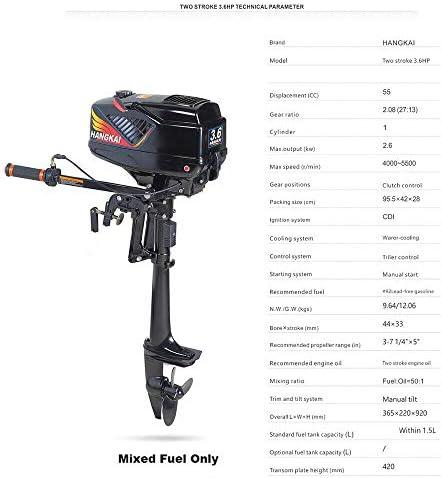 MOMOJA Motor fueraborda Motor 3.6HP Motor de 2 Tiempos Sistema de refrigeraci/ón por Agua CDI para Pesca Bote de Goma Kayak Bote Inflable