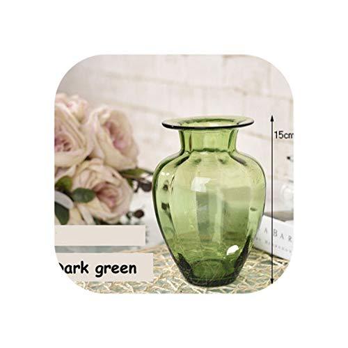 Orange-day Vases Creative vase Tabletop Color Glass Vase Handmade Floral hydroponic Desktop Flower Container Living Room Office Decoration,B4 15cm