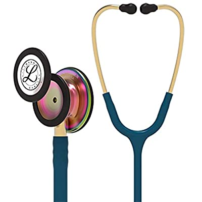 3M Littmann Classic III Monitoring Stethoscope, Rainbow-Finish, Caribbean Blue Tube, 27 inch, 5807 (Renewed)