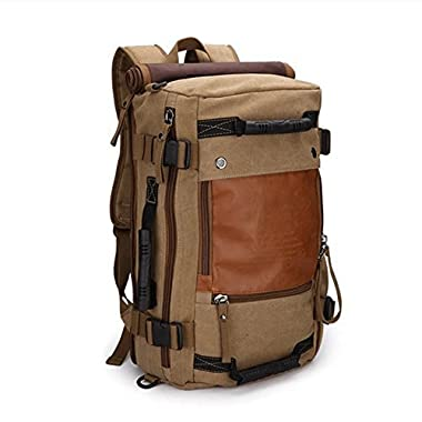Ibagbar Canvas Backpack Travel Bag Hiking Bag Camping Bag Rucksack Khaki