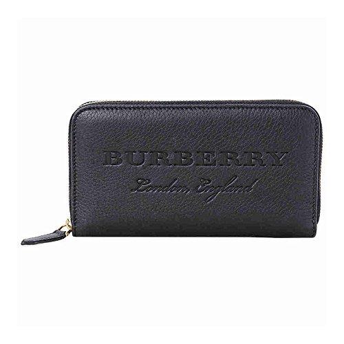 Burberry Leather Ziparound Wallet- Black (Men Burberry Wallet)