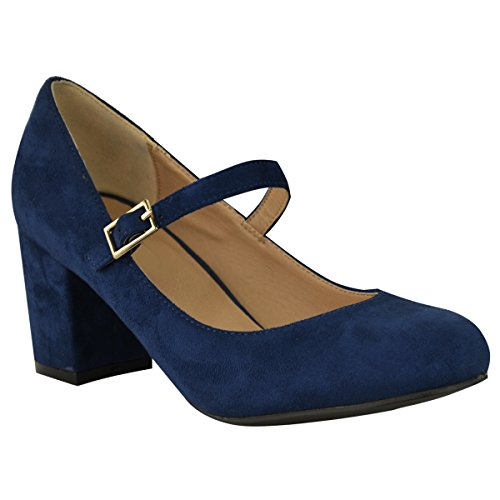 Fashion Thirsty Womens Mid Block Heel Mary Jane Office Work Formal Strap Dolly Pumps Shoes Size 8