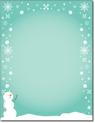 Christmas Stationery Silly Snowman with Snowflakes Holiday Laser and Inkjet Printer Invitation Paper ()
