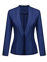 Meaneor Women's Casual Work Office Solid Color Long Sleeve Open Front Blazer Jacket