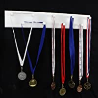 """PegandRail Medal Display, Sports Medal Hanger Running Swimming Soccer Marathon Medal Display - Solid Hardwood Construction - Made in The USA from (White, 23"""" x 4"""" with 9 Pegs)"""