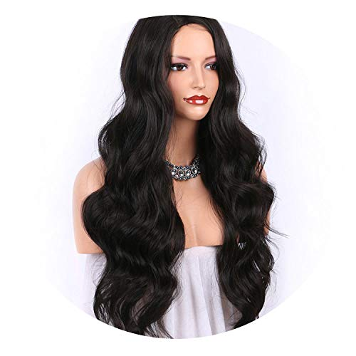 Long Wavy Wig Darkest Brown Synthetic Wig #2 Color Full Machine Made Wigs for Women 24Inch 130 Density Right Part Heat,#2,24inches,C]()