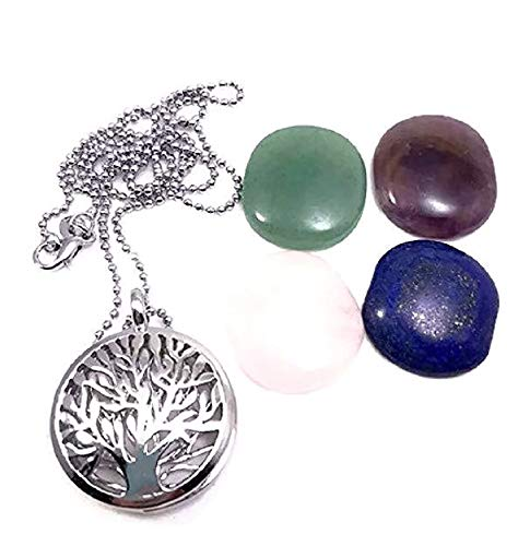 Pizazz Studios Tree Life Natural Gemstone Locket Necklace