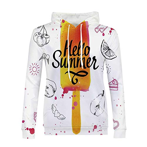 Ice Cream Decor Stylish Hoodies,Hello Summer Motivational Quote with Lime Heart Sun Cake Color Splash Image for Girls,M