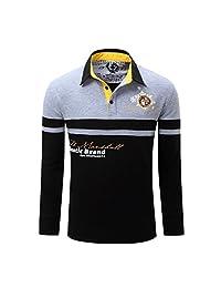 Duhud Mens Polo Shirt Color Stripe