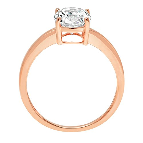Oval Brilliant Cut Classic Solitaire Designer Wedding Bridal Statement Anniversary Engagement Promise Ring Solid 14k Rose Gold, 2.2ct, 9.5 by Clara Pucci (Image #1)