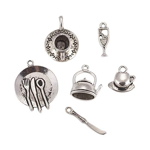 Kissitty 30Pcs Antique Silver Tableware Theme Charms Collection 15~30x3.5~23mm Tibetan 6 Styles Metal Wineglass Teapot Teacup Pendants for DIY Craft Jewelry -