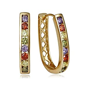 Olenata White CZ Hoop Earrings for Women - Sparkle Multicolor Cubic Zirconia Gold Plated Earrings