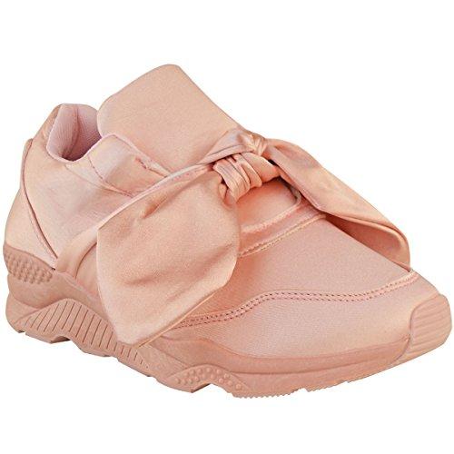 Mode Törstig Kvinna Satängpilbåge Sneakers Kilklack Resår Storlek Pastellrosa Satin