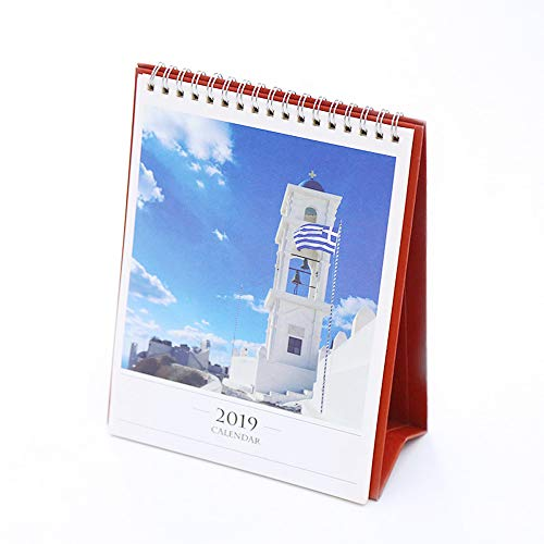 Flip Desk Monthly Calendar June 2018 to December 2019 with Stand, Twin-Wire Binding 8.3