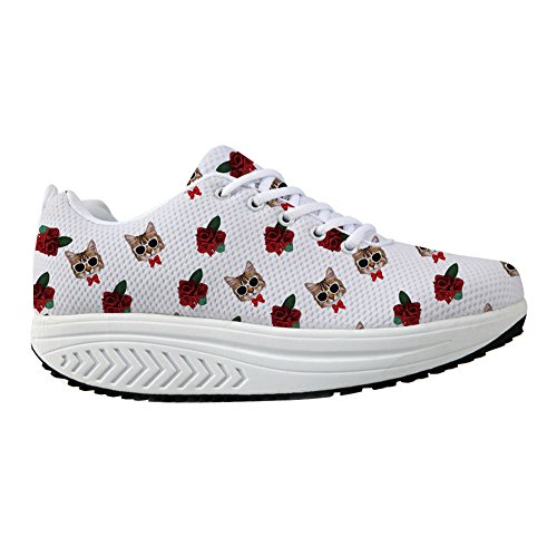 FOR U DESIGNS Cute Animal Cat Print Swing Fitness Walking Sneaker Casual Womens Wedges Platform Shoes Pussy RMh492C3HE