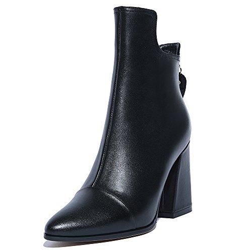Nio Sju Äkta Läder Womens Spetsig Tå Chunky Klack Affärer Handgjorda Formell Fotled Stövlar