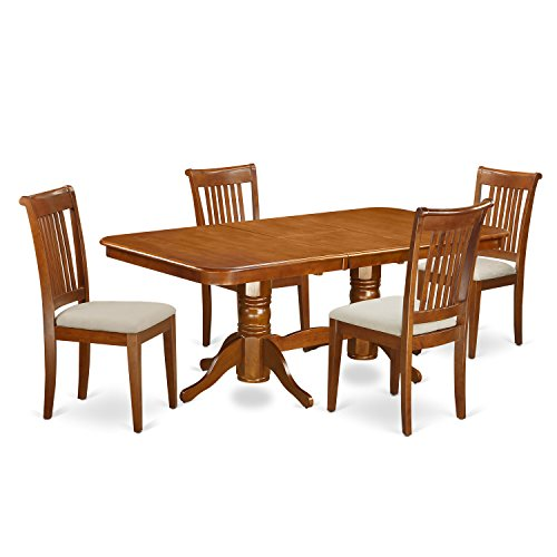 East West Furniture NAPO5-SBR-C 5-Piece Dining Room Table Set
