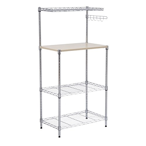 New 4-Tier 47'' Bakers Rack Kitchen Cart Microwave Stand Cutting Board Workstation by totoshopkitchen
