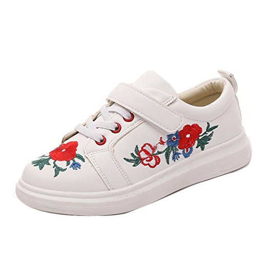 Fresh Off The Boat Costume (Women's Floral Embroidered Platform Fashion Sneakers Lace Up Patch Sneaker)