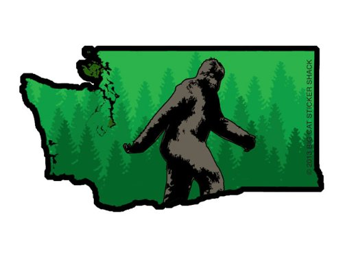 Washington State Shape with Bigfoot (Bumper Sticker)