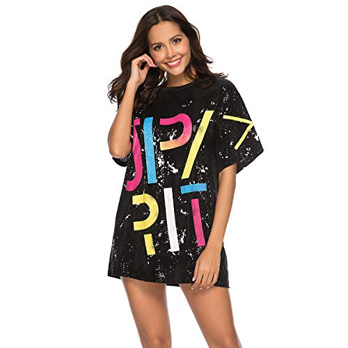 (Ds Family Womens Juniors Short Sleeve Sequin Funny Dress Shirts (X-Large, Black 1))