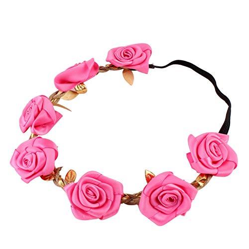 (Girls Flower Headband Rose Floral Headbands Girls Kids Boutique Elastic Flower Headwear Hair Bands Accessories Rose)