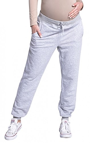 Zeta Ville - Womens Pregnancy Pants Trousers Stretch Cuffs Sweatpants - 668c (Grey Melange, US 12/14, ()