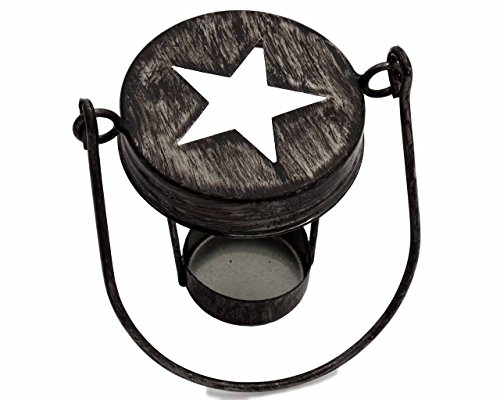 (Star Cutout Tea Light Candle Holder Lids for Regular Mouth Mason Jars (3 Pack, Antique Black with Handle))