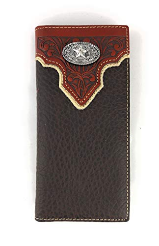 - Men's Western Rodeo Genuine Leather Concho Bifold Long Wallet (Star, Coffee)