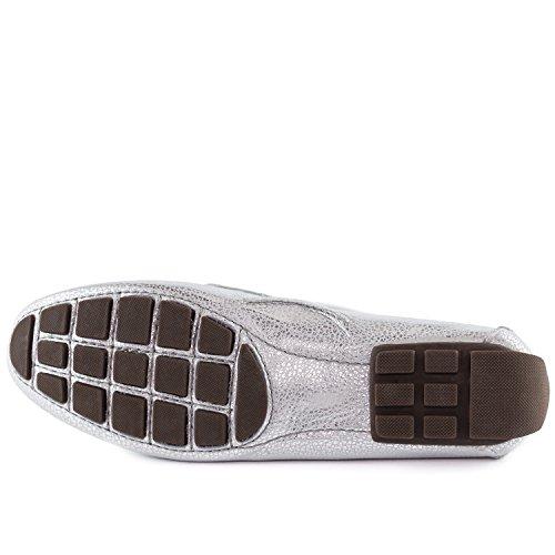 Echtes Leder der Frauen hergestellt in Brasilien-beiläufigen Cypress-Hügel-Fahrer Marc Joseph NY Fashion Shoes Metallisches körniges Silber