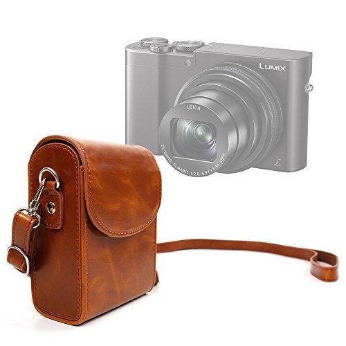 DURAGADGET Retro-Inspired Compact Camera Case in 'Vintage' Brown - Suitable for Panasonic Lumix TZ80|Lumix TZ100(SZ100)|Lumix DMC-ZS100|Lumix DMC-ZS60(TZ60)|Lumix DC-TZ90|Lumix DC-TZ91