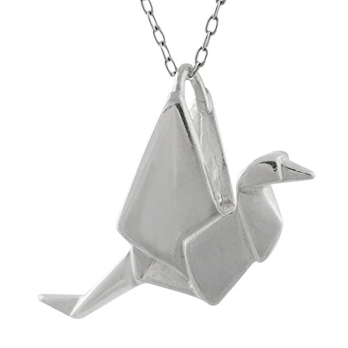 Sterling Silver Origami Crane Charm Pendant Necklace, 18 Inch
