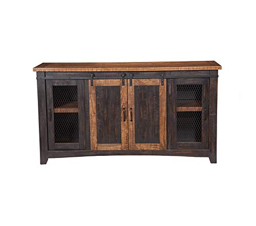 Wood & Style Furniture Santa Fe TV Stand Antique Black and Aged Distressed Pine Premium Office Home Durable ()