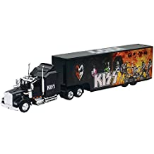 NEW 1:43 NEWRAY TRUCK & TRAILER COLLECTION - BLACK KENWORTH W900 - KISS ROCK BAND TRUCK Diecast Model By NEW RAY TOYS