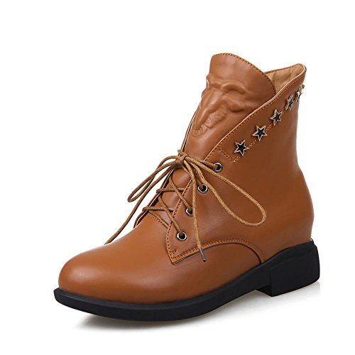 L@YC Women's Shoes Flat Heel Round Toe Boots Casual Black/Brown/Red Brown ZHCbUDa9PF